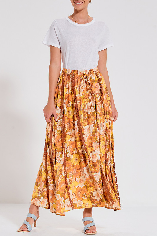 Trim Insert Maxi Skirt in Rust Multi