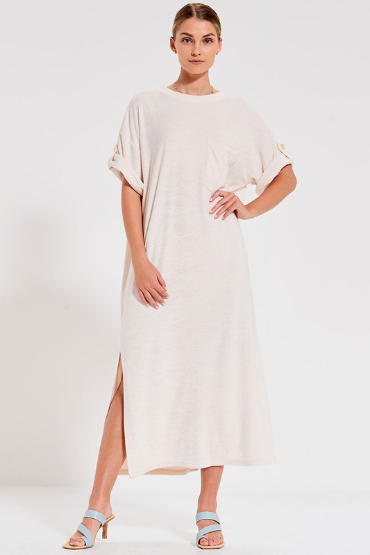 Terry Towelling Dress in Cream