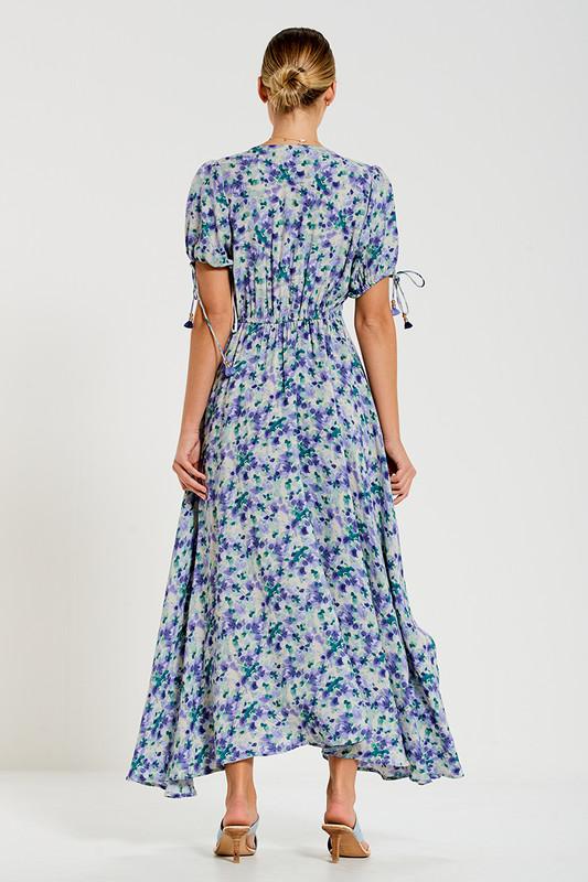 Scoop Neckline Midi Dress in Garden Multi