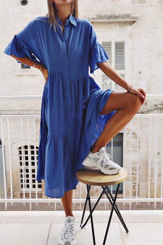 Genoa Midi Dress in Azure