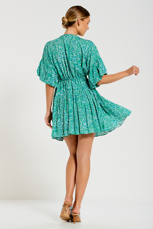 Genoa Sleeve Billow Mini Dress in Green Multi