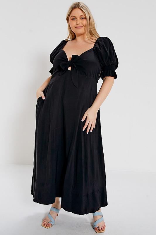 Midi Dress with Bodice Tie in Black