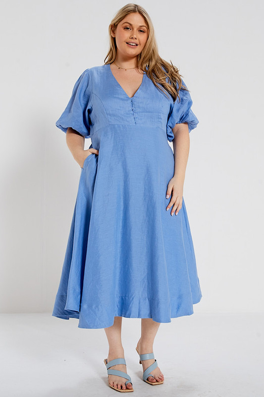 Fixed Bodice A-Line Midi Dress in Periwinkle