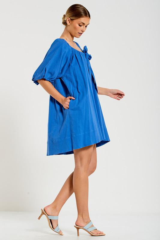 Tie Front Neck Mini Dress in Azure