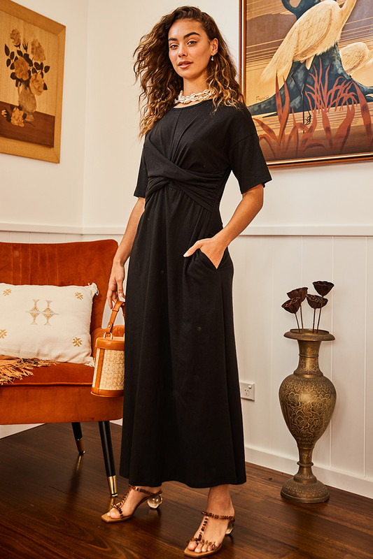 Twist Waist Knot Dress in Black
