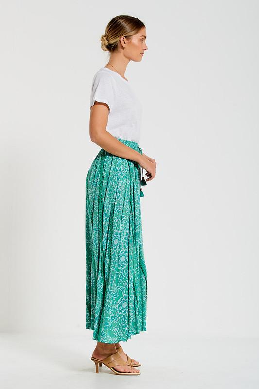 Trim Insert Maxi Skirt in Green Multi