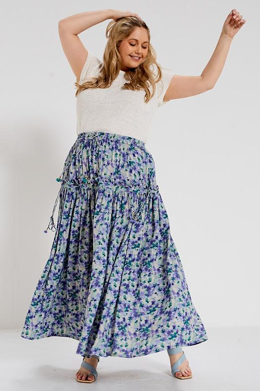 Midi Skirt with Draw Cord Ruffle in Garden Multi