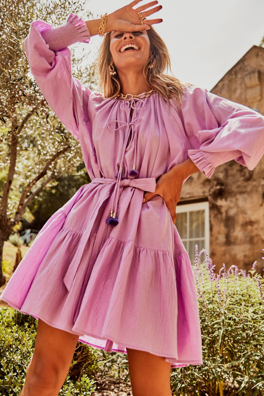 Shirred Cuff Mini Dress with Neck Ties in Lavender