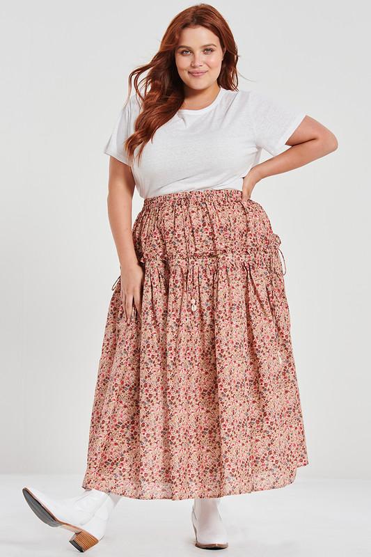 Draw Cord Ruffle Skirt in Belle Flower