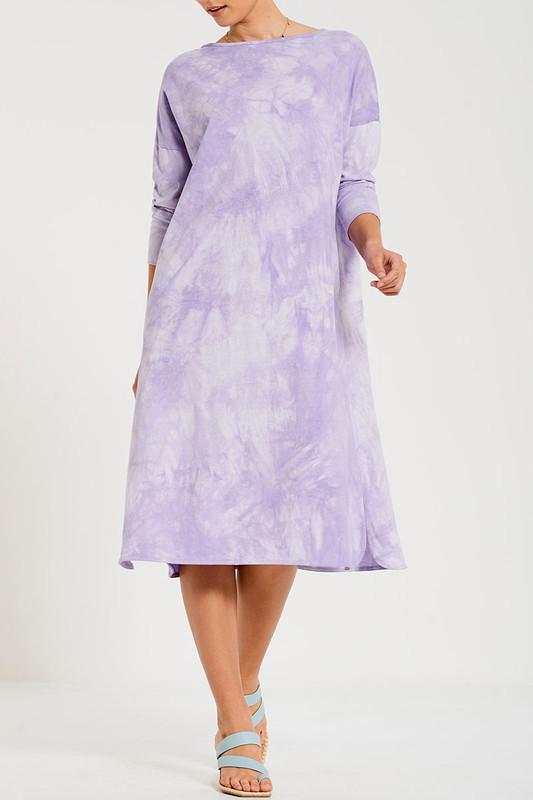 Boyfriend Swing Tee Dress in Lavender Tie Dye