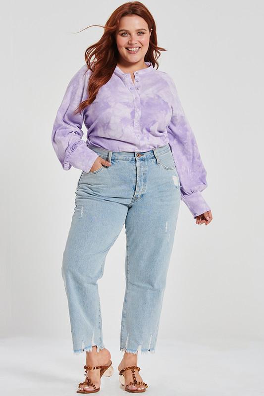 Raglan Sleeve Button Up Tee in Lavender Tie Dye