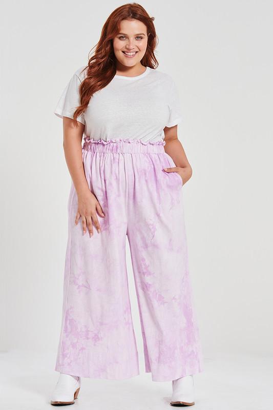 Paper Bag Wide Leg Pant in Lilac Tie Dye