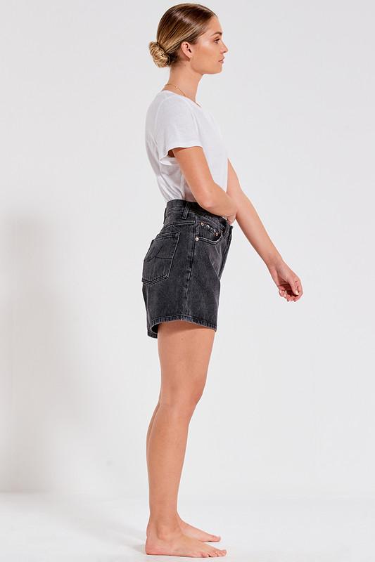 Denim Cut-Off Short in Washed Grey