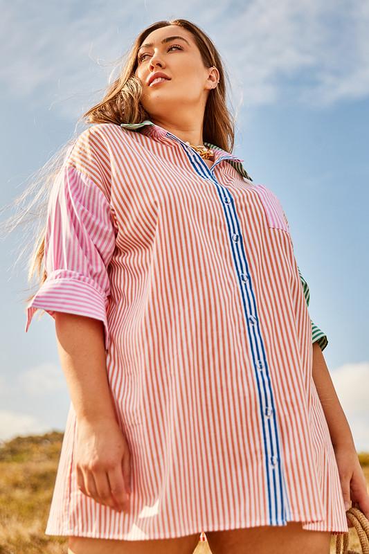 Boyfriend Mini Shirt Dress in Orange Multi Stripe