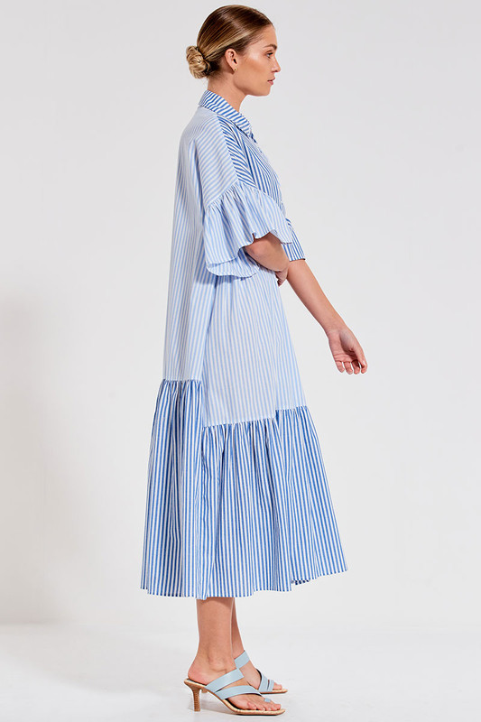Genoa Maxi Dress in Blue Multi Stripe