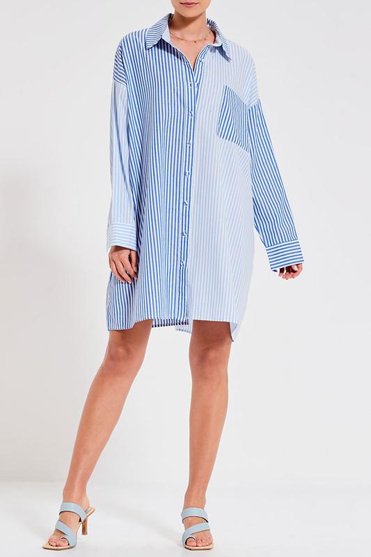 Boyfriend Mini Shirt Dress in Blue Multi Stripe