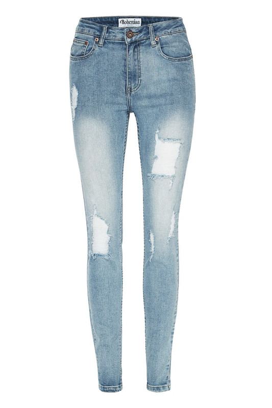 Distressed Skinny Jean in Light Blue