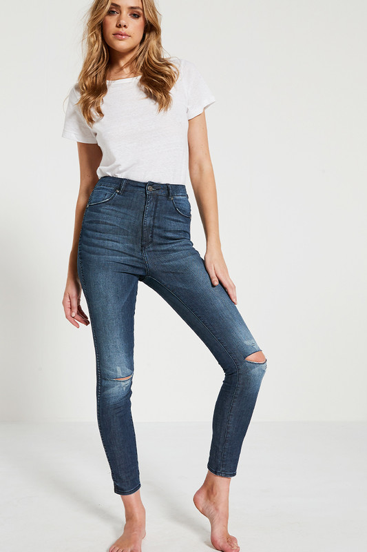 High Waisted Skinny Jean in Dark Wash