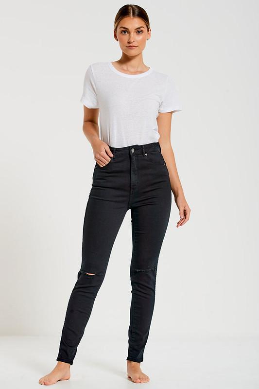 High Waisted Skinny Jean in Black
