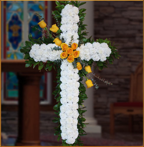 White Cross with Rose Sash
