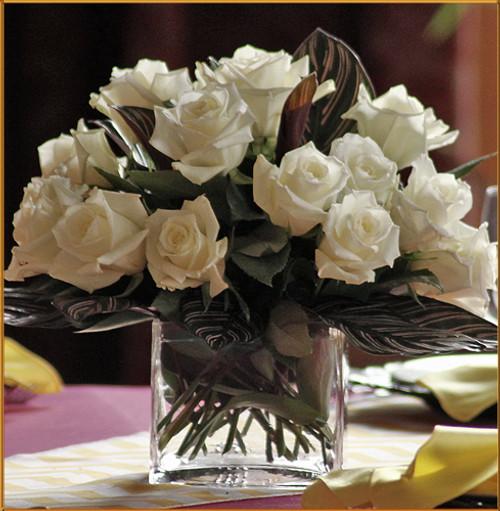 White Rose Cube Centerpiece