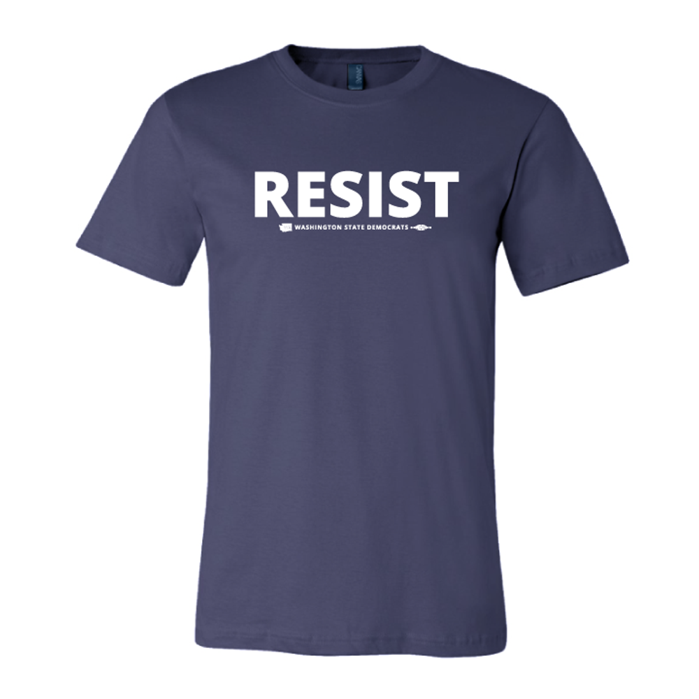 """Resist"" logo graphic on  (Navy Tee)"