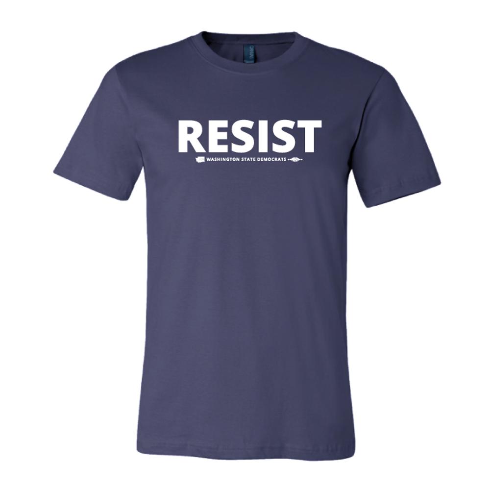 """Resist"" logo graphic on  (Navy Tee)"