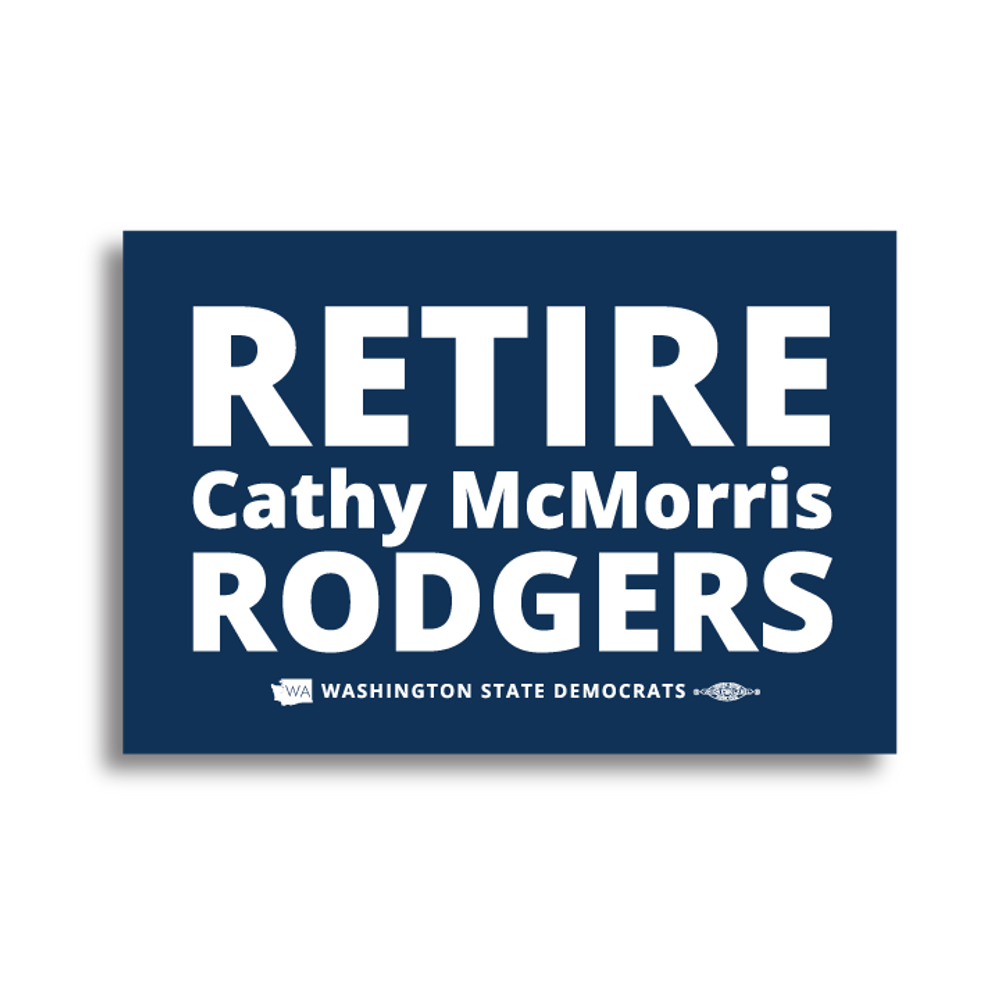 """Retire Cathy McMorris Rodgers"" logo graphic (6"" x 4"" Vinyl Sticker -- Pack of Two!)"