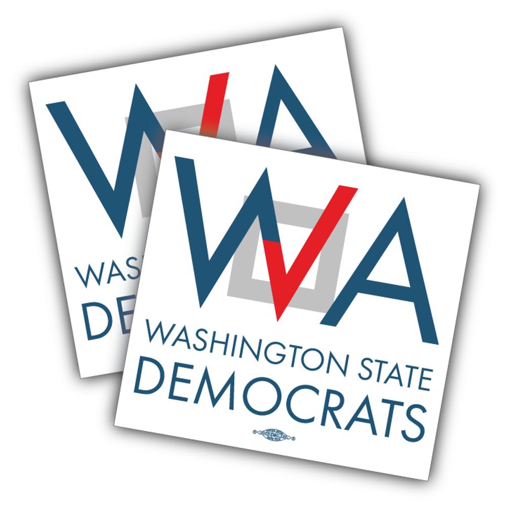 "Washington Democrats Official Logo  (4"" x 4"" Vinyl Sticker -- Pack of Two!)"