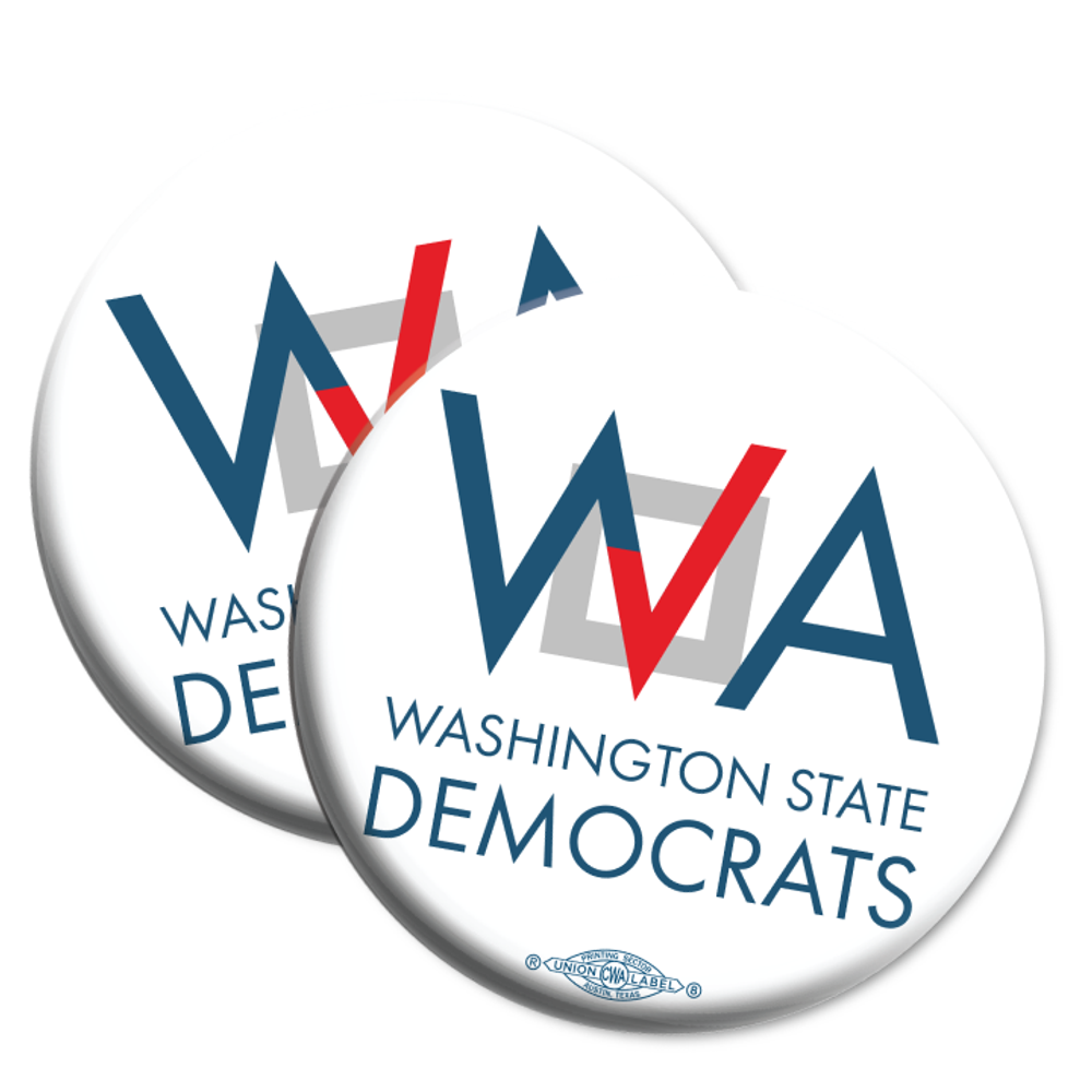 "Washington Democrats Official Logo  (2.25"" Mylar Button -- Pack Of Two!)"