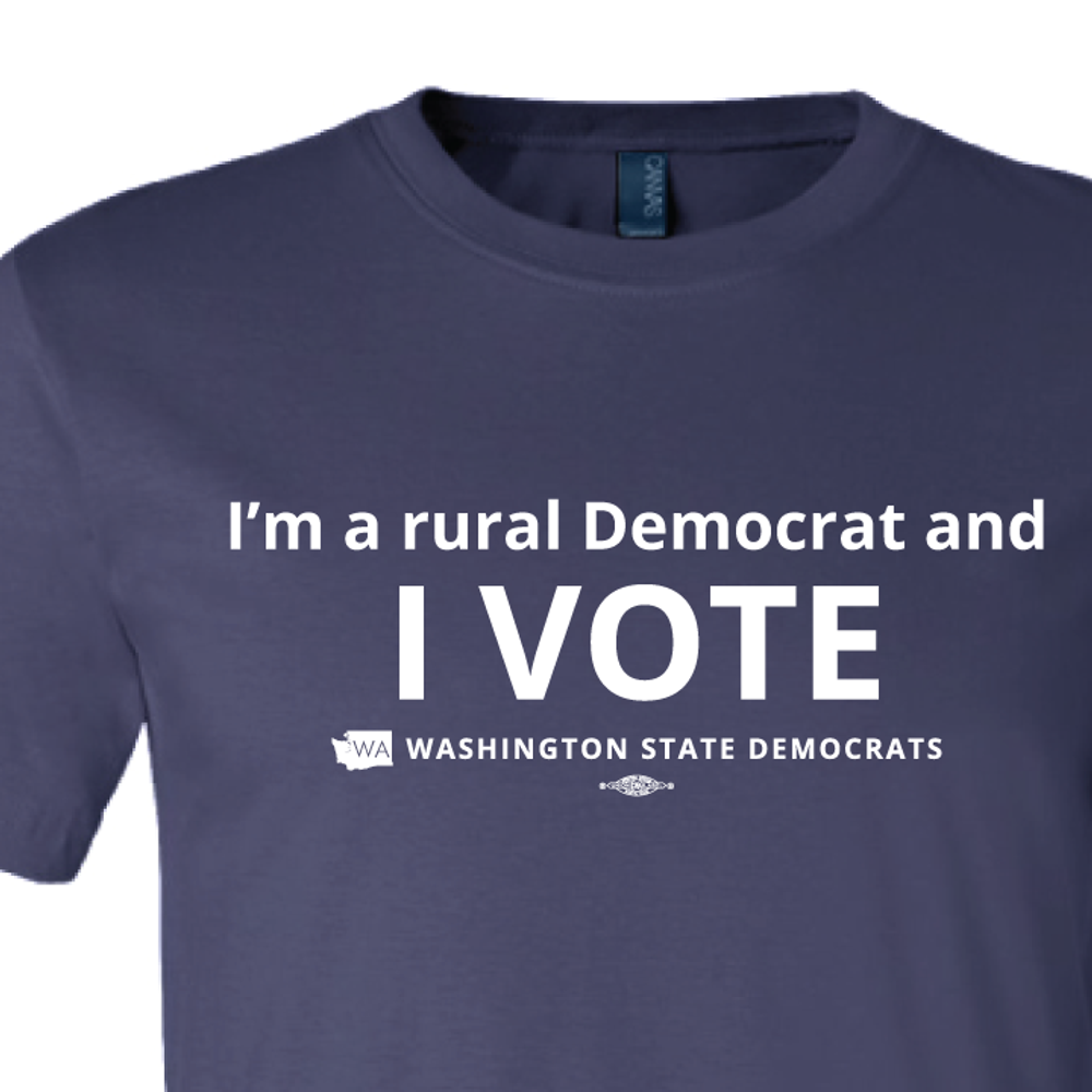 """I'm a Rural Democrat and I VOTE"" logo graphic (Navy Tee)"