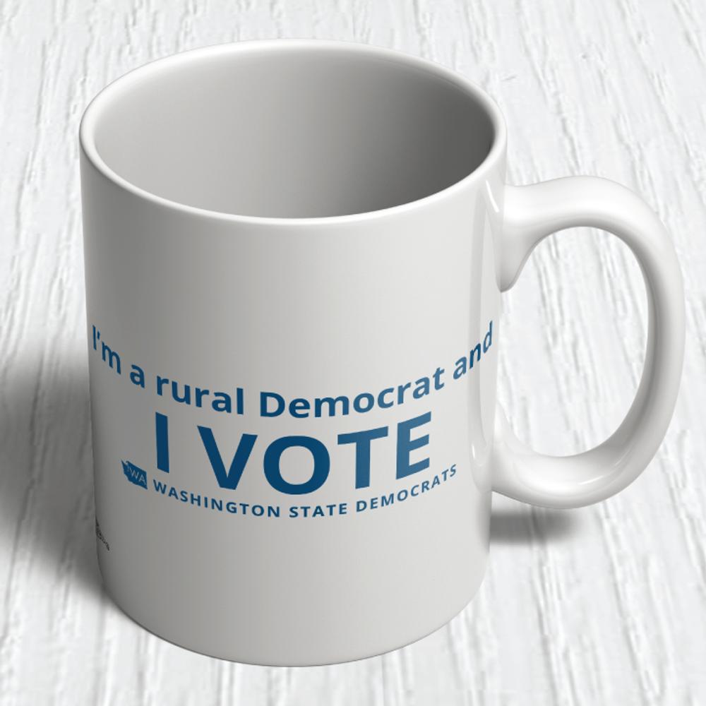 """I'm a Rural Democrat and I VOTE"" logo graphic on (11oz. Coffee Mug)"