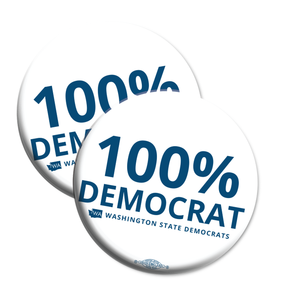 """100% Democrat"" logo graphic on (2.25"" Mylar Button -- Pack Of Two!)"