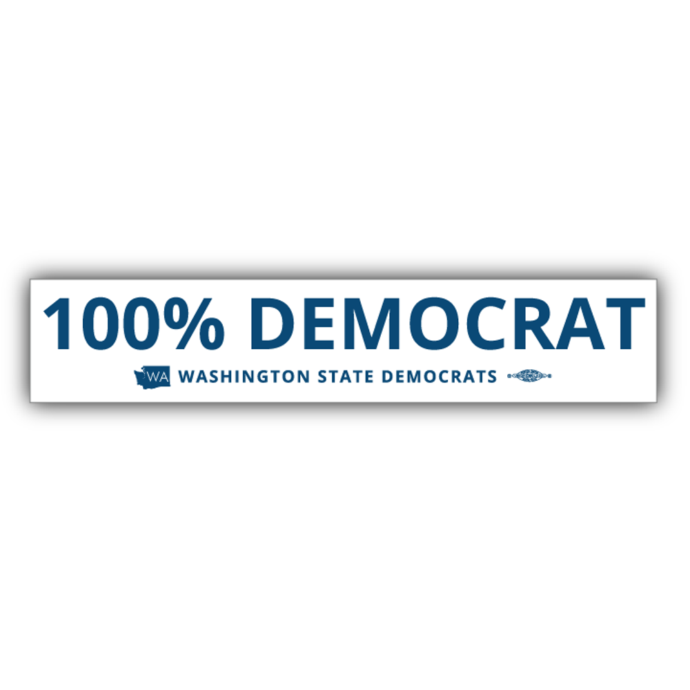 """100% Democrat"" logo graphic on (10"" x 2"" Vinyl Sticker -- Pack of Two!)"