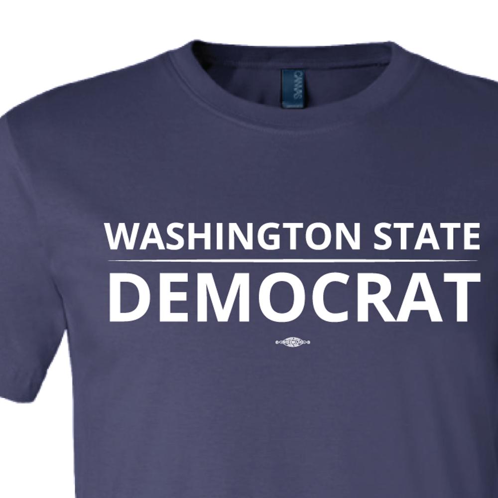 """Washington State Democrat"" logo graphic on (Navy Tee)"