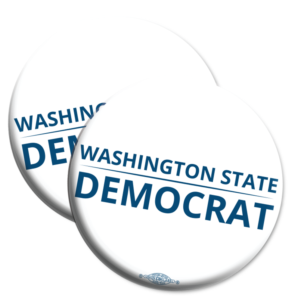 """Washington State Democrat"" logo graphic on (2.25"" Mylar Button -- Pack Of Two!)"