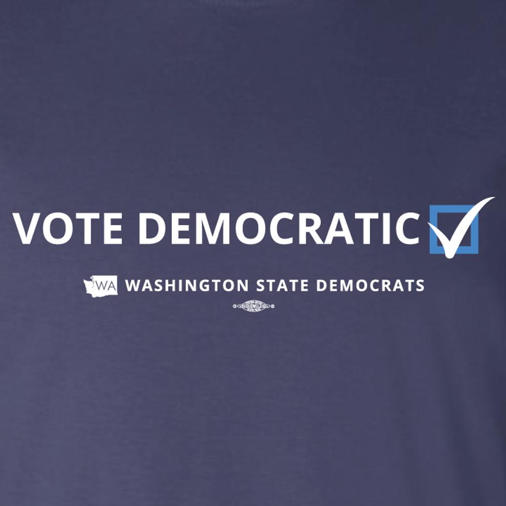"""""""Vote Democratic"""" logo graphic on (Navy Tee)"""