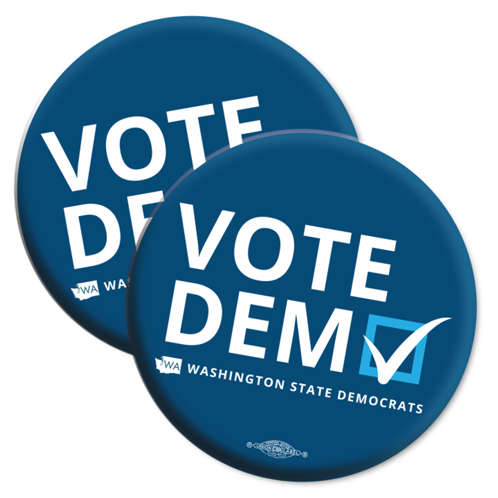 """Vote Democratic"" logo graphic on (2.25"" Mylar Button -- Pack Of Two!)"