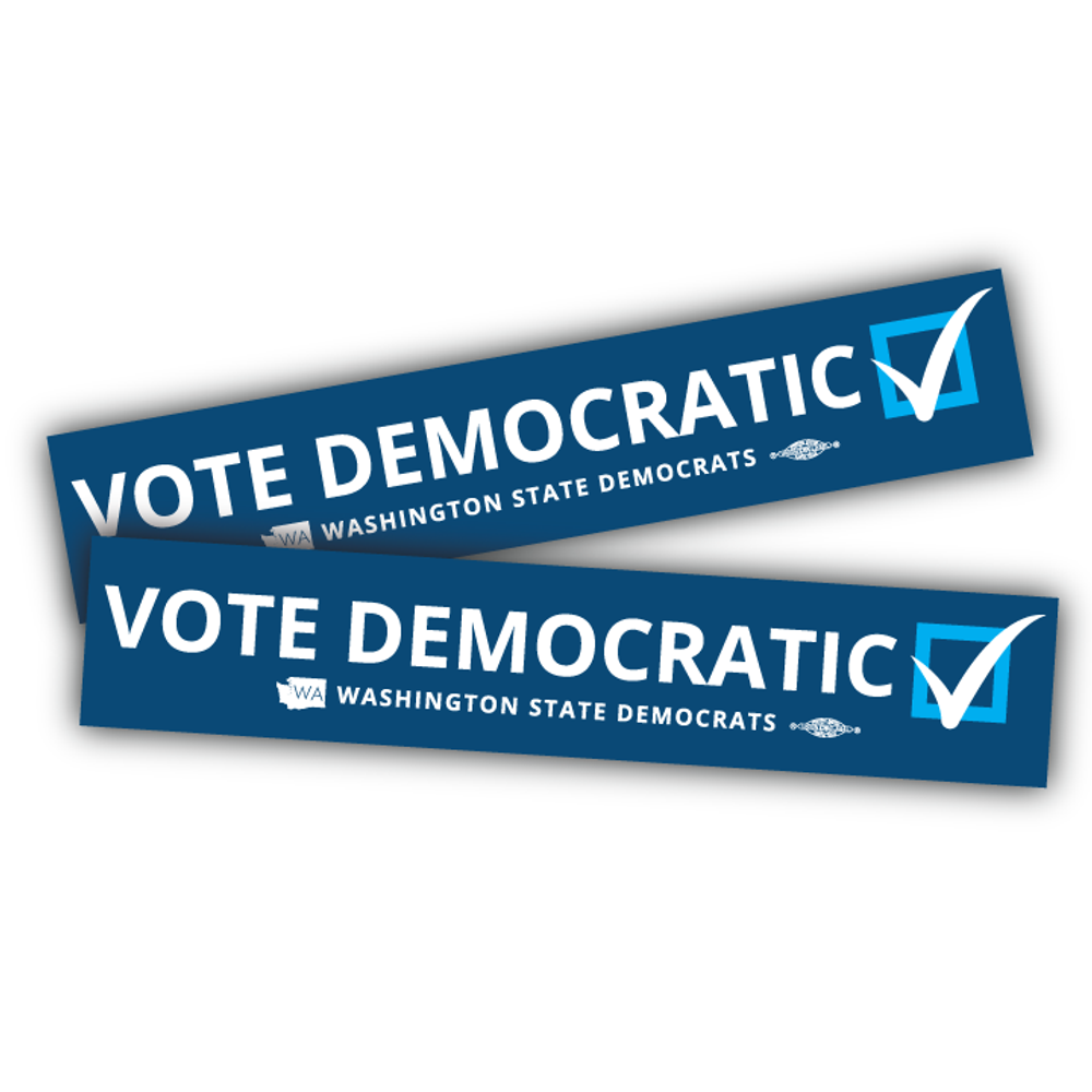 """Vote Democratic"" logo graphic on (10"" x 2"" Vinyl Sticker -- Pack of Two!)"