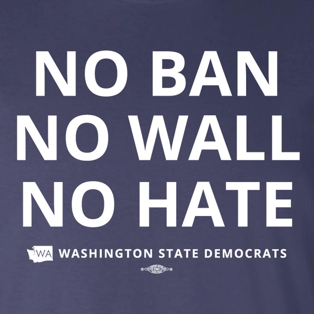 """No Ban, No Wall, No Hate"" logo graphic on (Navy Tee)"