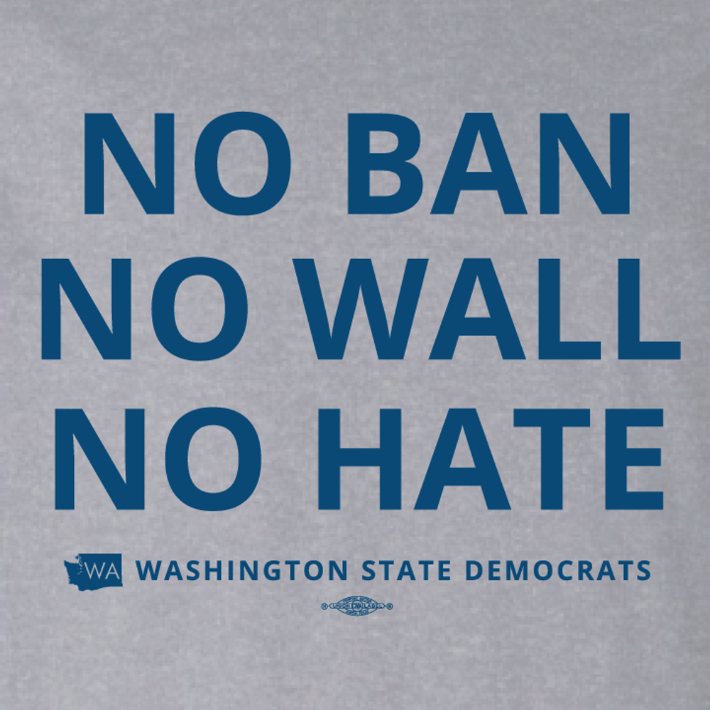 """""""No Ban, No Wall, No Hate"""" logo graphic on (Athletic Heather Tee)"""