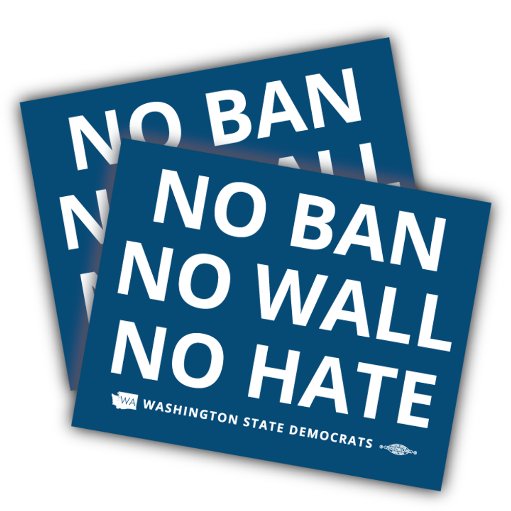 """""""No Ban, No Wall, No Hate"""" logo graphic on (5"""" x 4"""" Vinyl Sticker -- Pack of Two!)"""