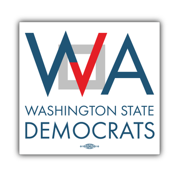 "Washington Democrats Official Logo  (5"" x 5"" Vinyl Sticker -- Pack of Two!)"