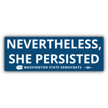 """""""Nevertheless, She Persisted"""" logo graphic on (9"""" x 3"""" Vinyl Sticker -- Pack of Two!)"""