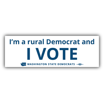 """I'm a Rural Democrat and I VOTE"" logo graphic on (9"" x 3"" Vinyl Sticker -- Pack of Two!)"