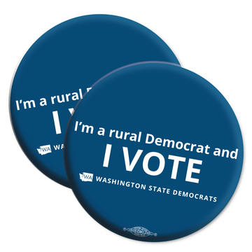 """I'm a Rural Democrat and I VOTE"" logo graphic on (2.25"" Mylar Button -- Pack Of Two!)"