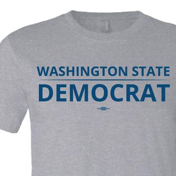"""Washington State Democrat"" logo graphic on (Athletic Heather Tee)"