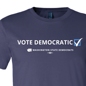 """Vote Democratic"" logo graphic on (Navy Tee)"