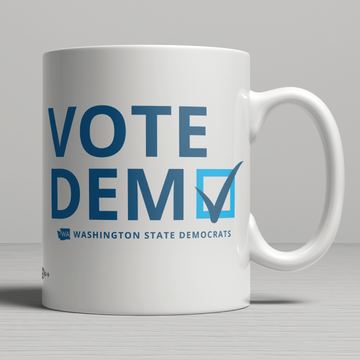 """Vote Democratic"" logo graphic on (11oz. Coffee Mug)"