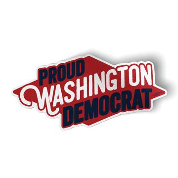 "Proud Washington Democrat (6"" x 3"" Vinyl Sticker -- Pack of Two!)"